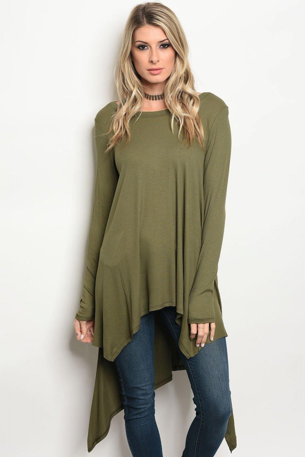 Olive Long Sleeve With V-Back