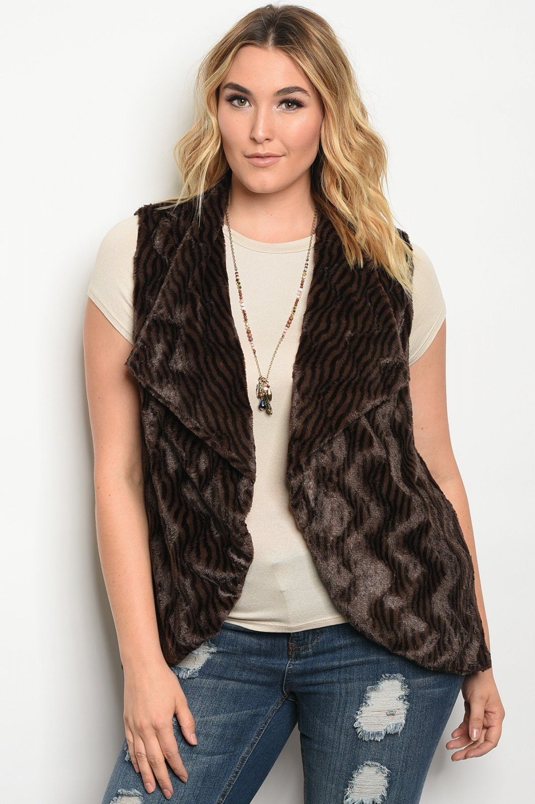BROWN PLUS SIZE VEST