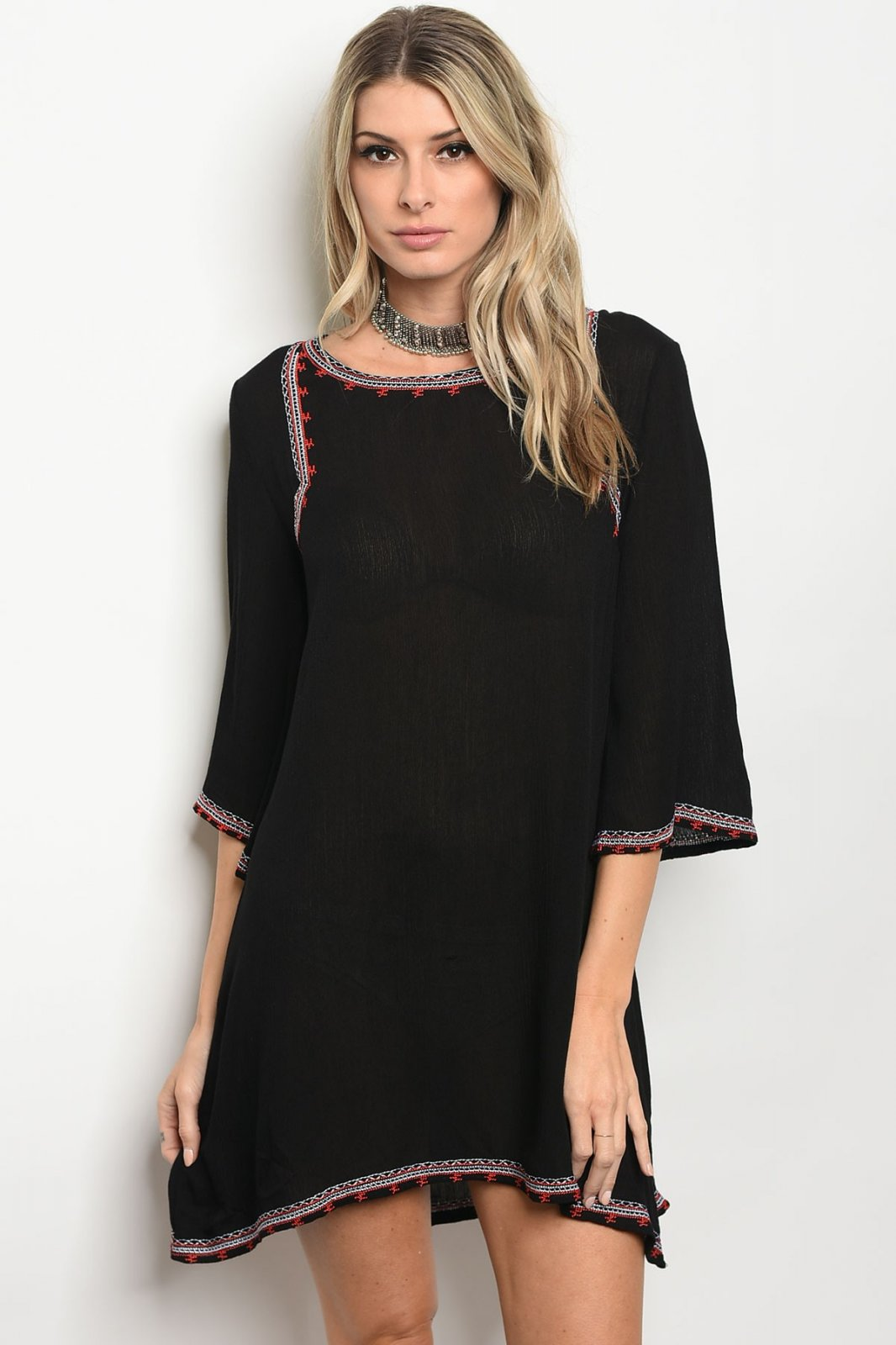Black Shift Dress With Embroidered Details