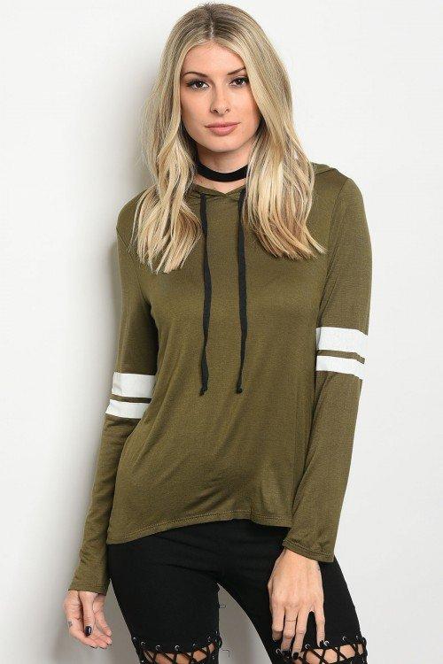 Olive Varsity Hooded Top