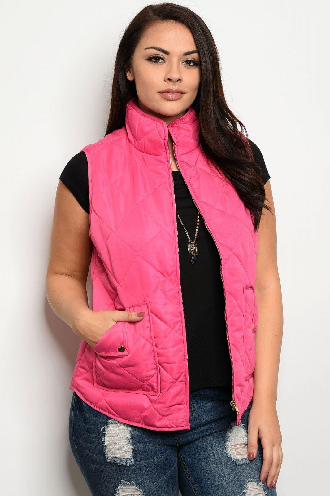 Hot Pink Plus Size Vest