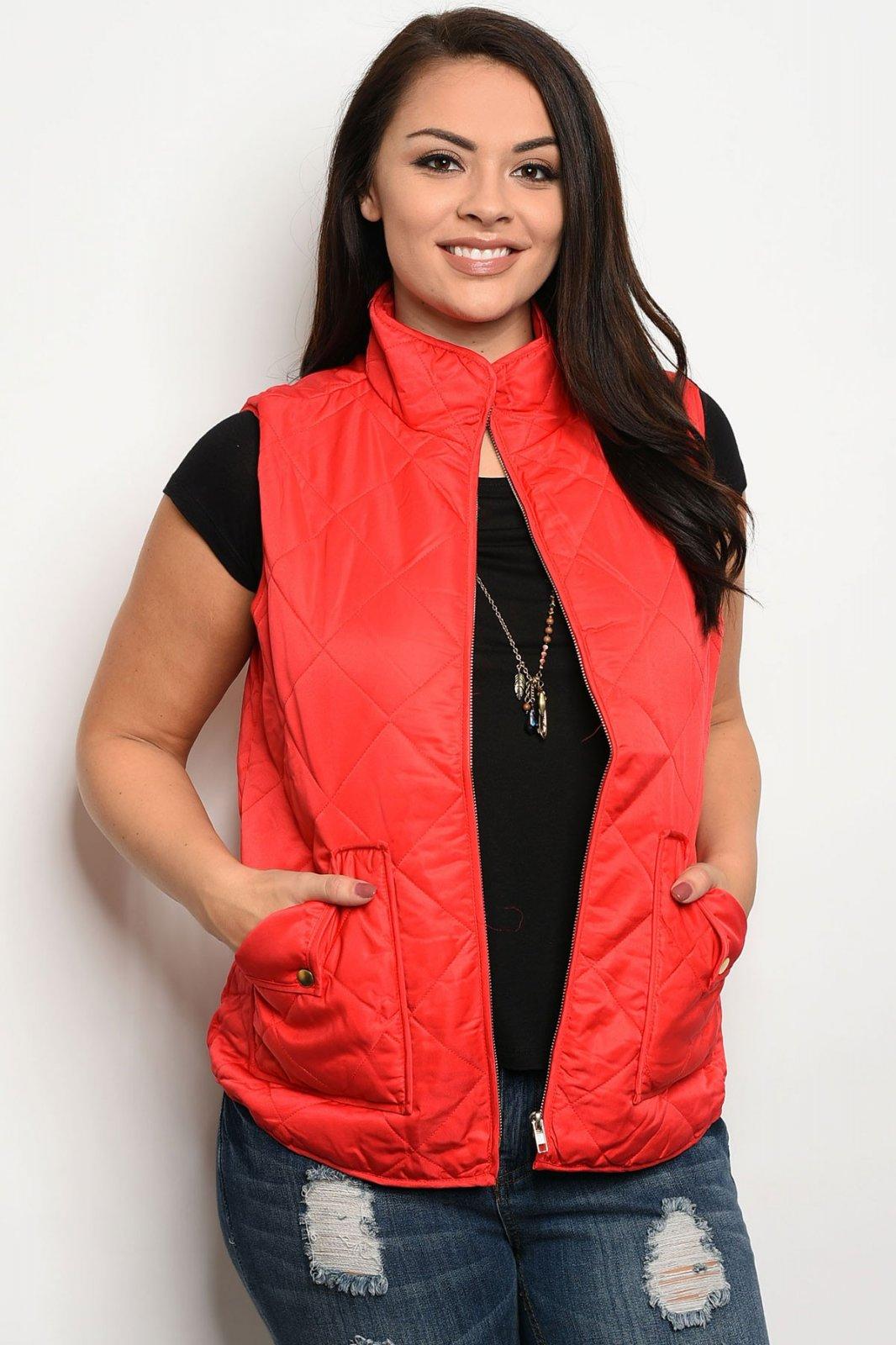 Red Plus Size Vest