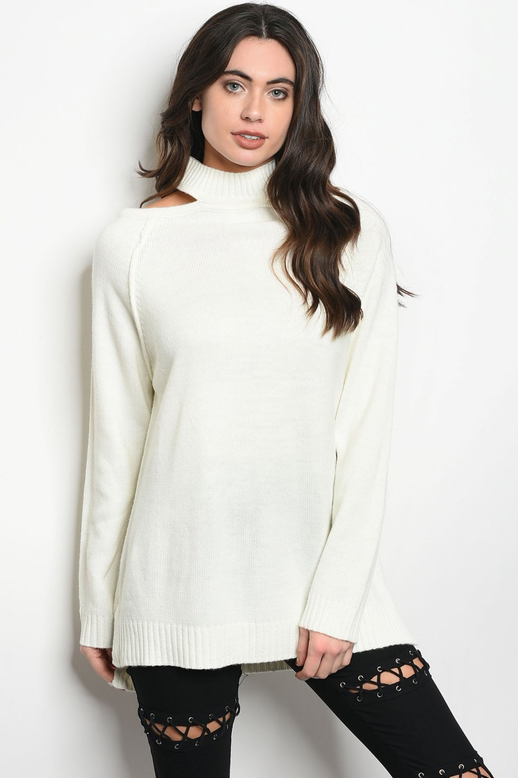 Ivory Pullover Sweater with Mock Neck