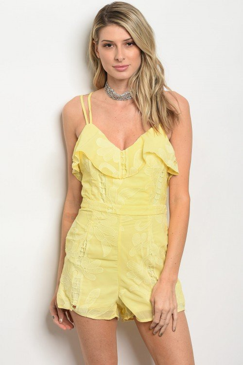 Strapy Yellow Romper With Ruffle