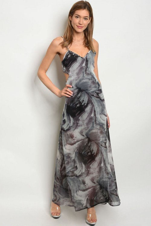 Black & Grey Maxi Dress