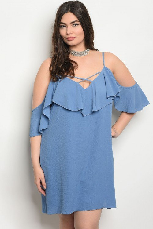 Blue Plus Size Off The Shoulder Dress