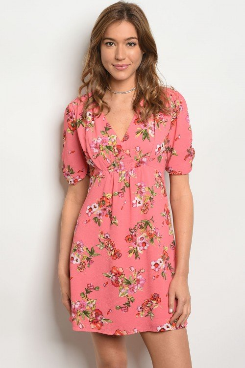 Dark Coral Floral Summer Dress