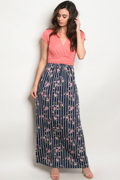 Coral Navy Maxi Dress