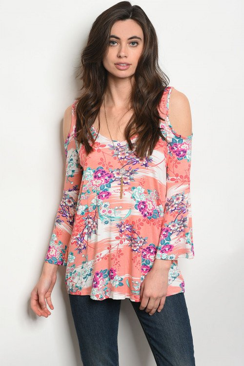 Coral Floral Top With Cold Shoulder