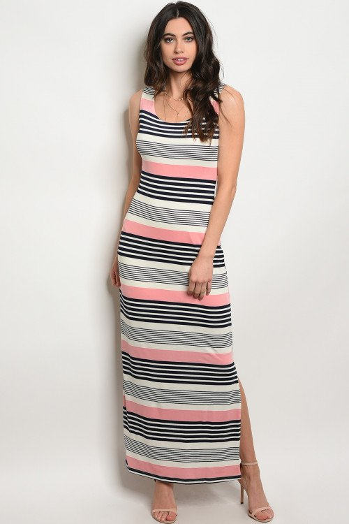 Pink Striped Jersey Maxi Dress