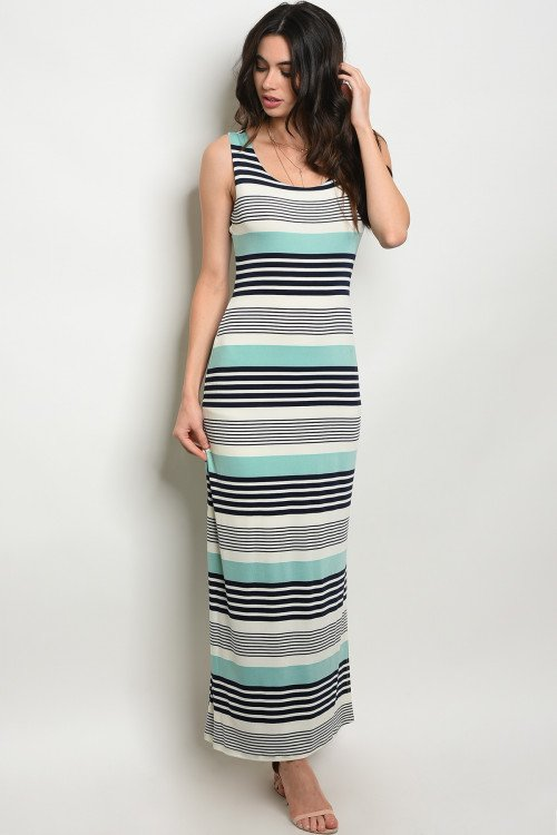 Mint Striped Jersey Maxi Dress