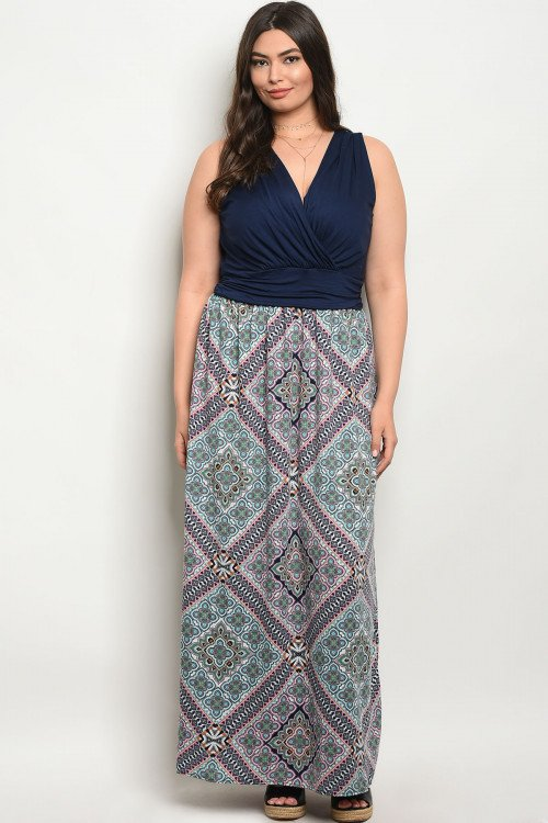 Plus Size Navy Maxi Dress