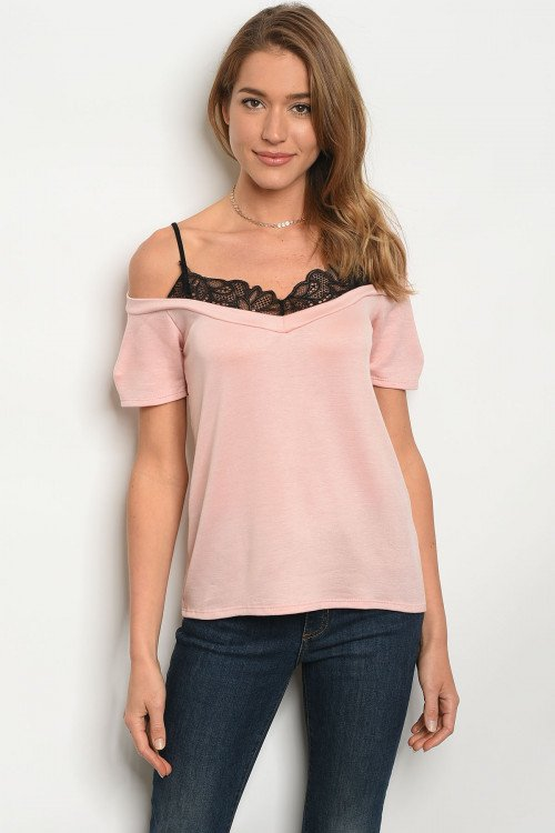 Pink Cold Shoulder Lace Top