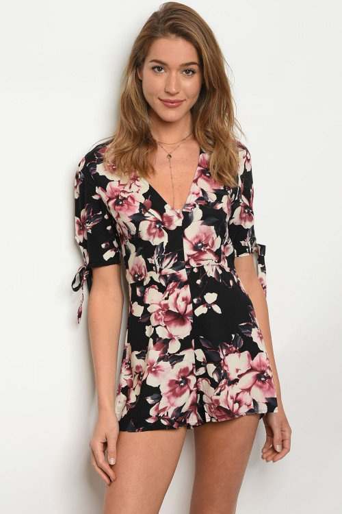 Floral Black Fitted Romper