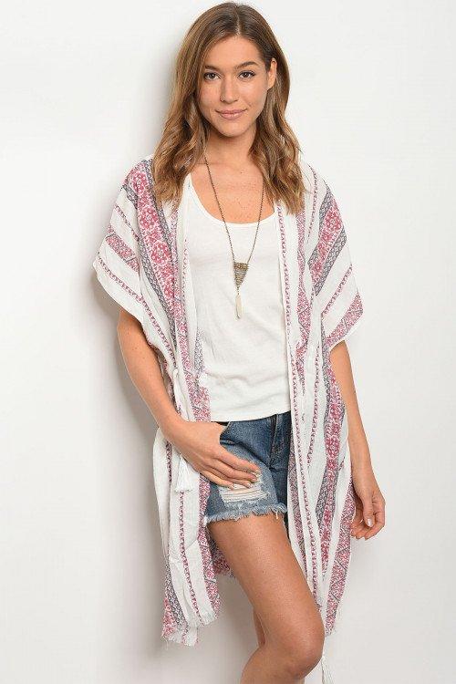 Off White & Wine Print Kimono