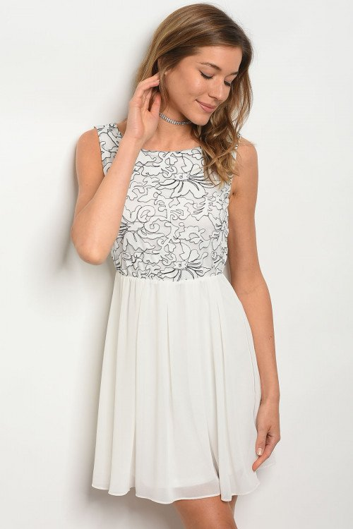 Ivory Dress With Black Detail