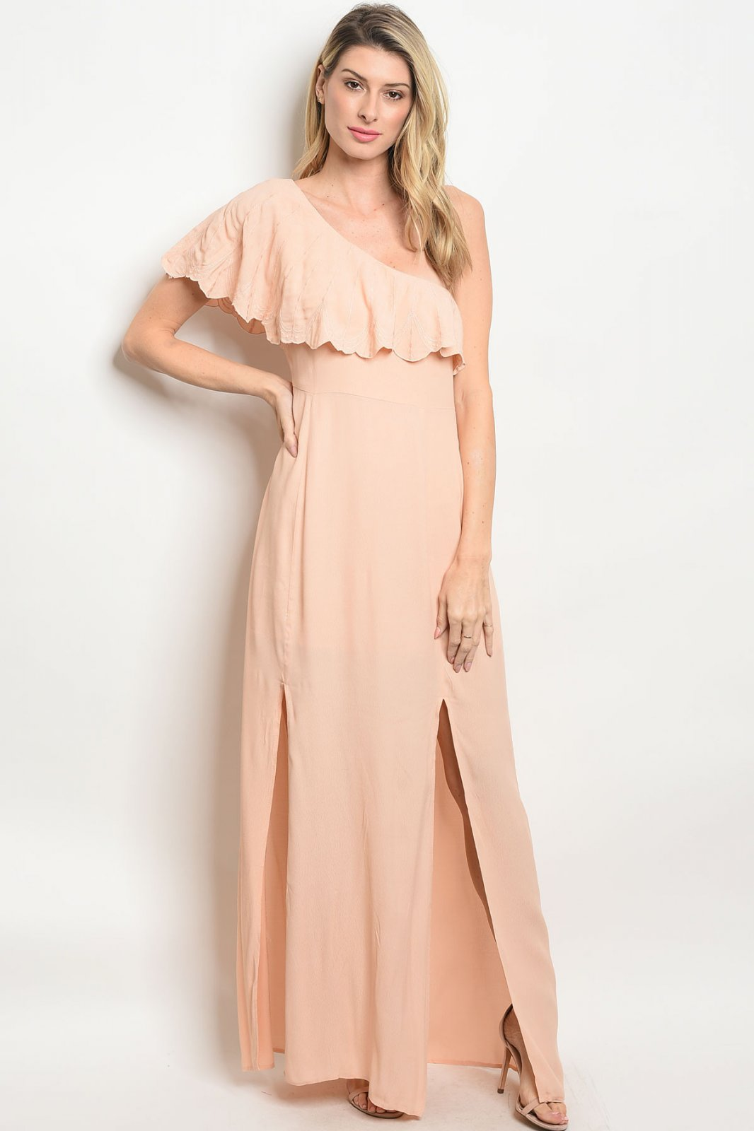 Blush One Shoulder Ruffle Maxi Dress.