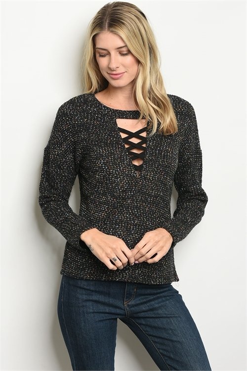 BLACK LONG SLEEVE LACE-UP NECKLINE SWEATER