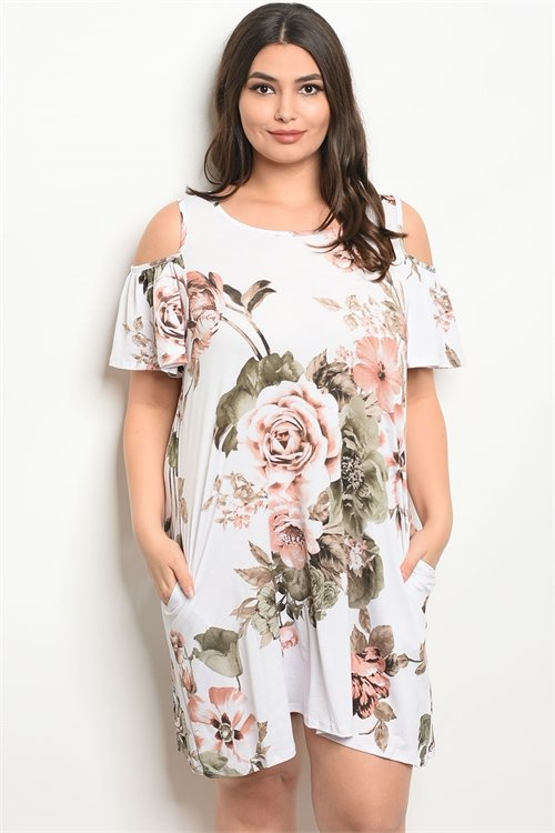 WHITE FLORAL PLUS SIZE DRESS
