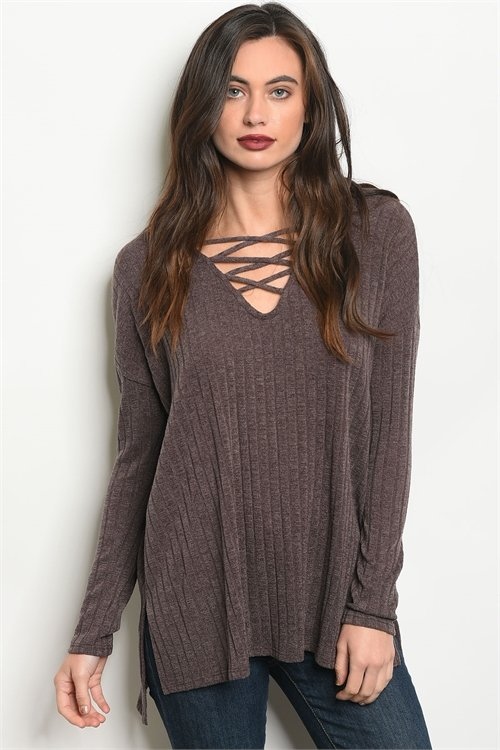 MOCHA LACE-UP TOP