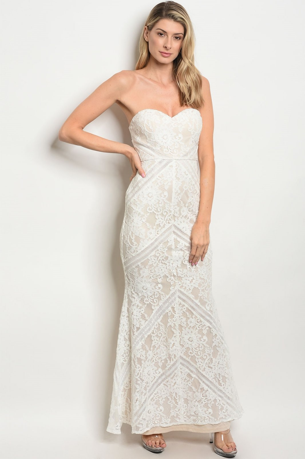 Off White Lace Strapless Maxi Dress