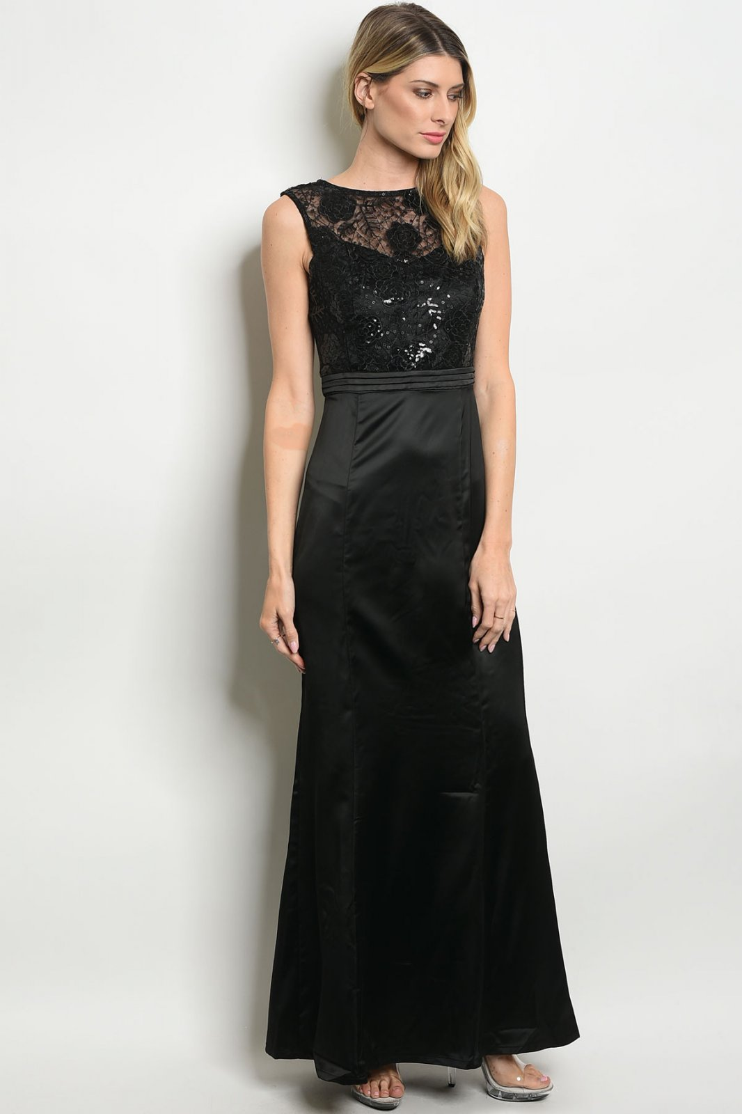 Black Formal Gown With Sequins Embellished Lace Top
