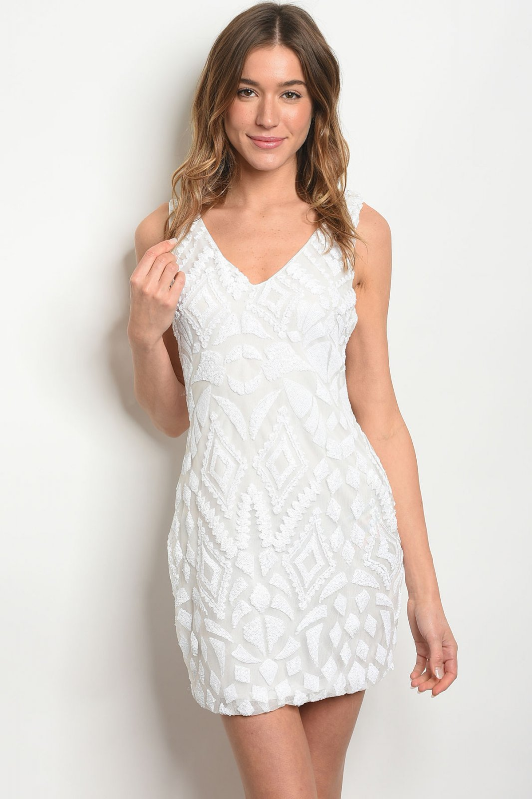 OFF WHITE WITH SEQUINS DRESS