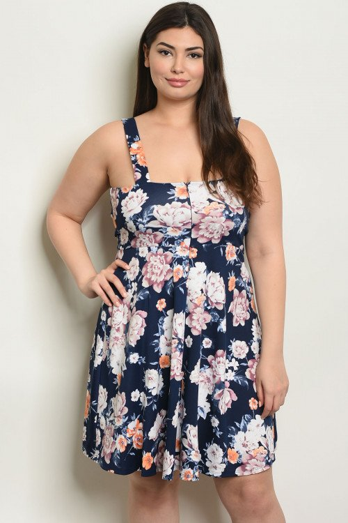 NAVY FLORAL PLUS SIZE DRESS