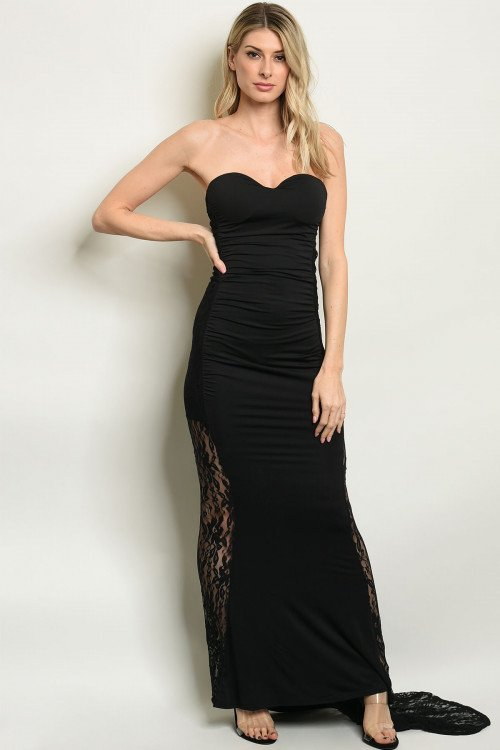 Strapless Black Fitted Gown With Lace Sheer Panels