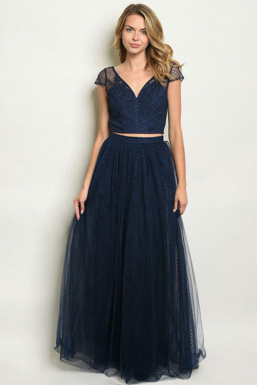Navy Two Piece Prom Dress