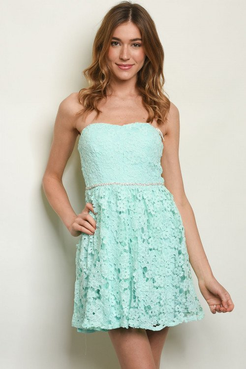 Strapless Mint Lace Skater Dress