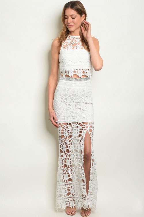White Two Piece Crochet Homecoming Dress