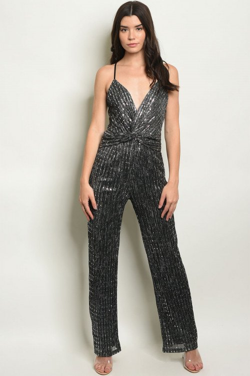 BLACK SILVER WITH SEQUINS JUMPSUIT
