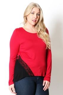 Lace-Trim Colorblock Tee With Long Sleeves