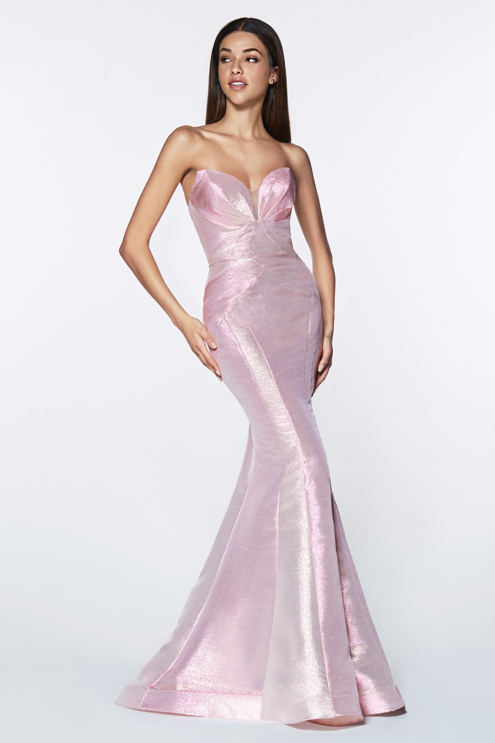 Opal Pink fitted strapless gown with metallic iridescent fabric.