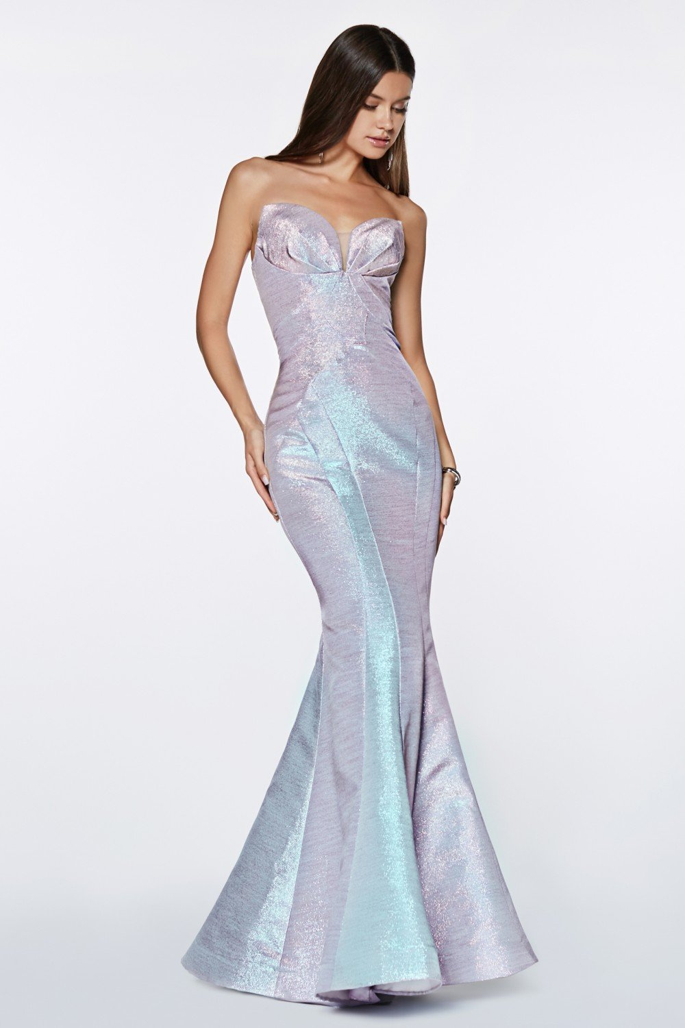 Opal Blue fitted strapless gown with metallic iridescent fabric.