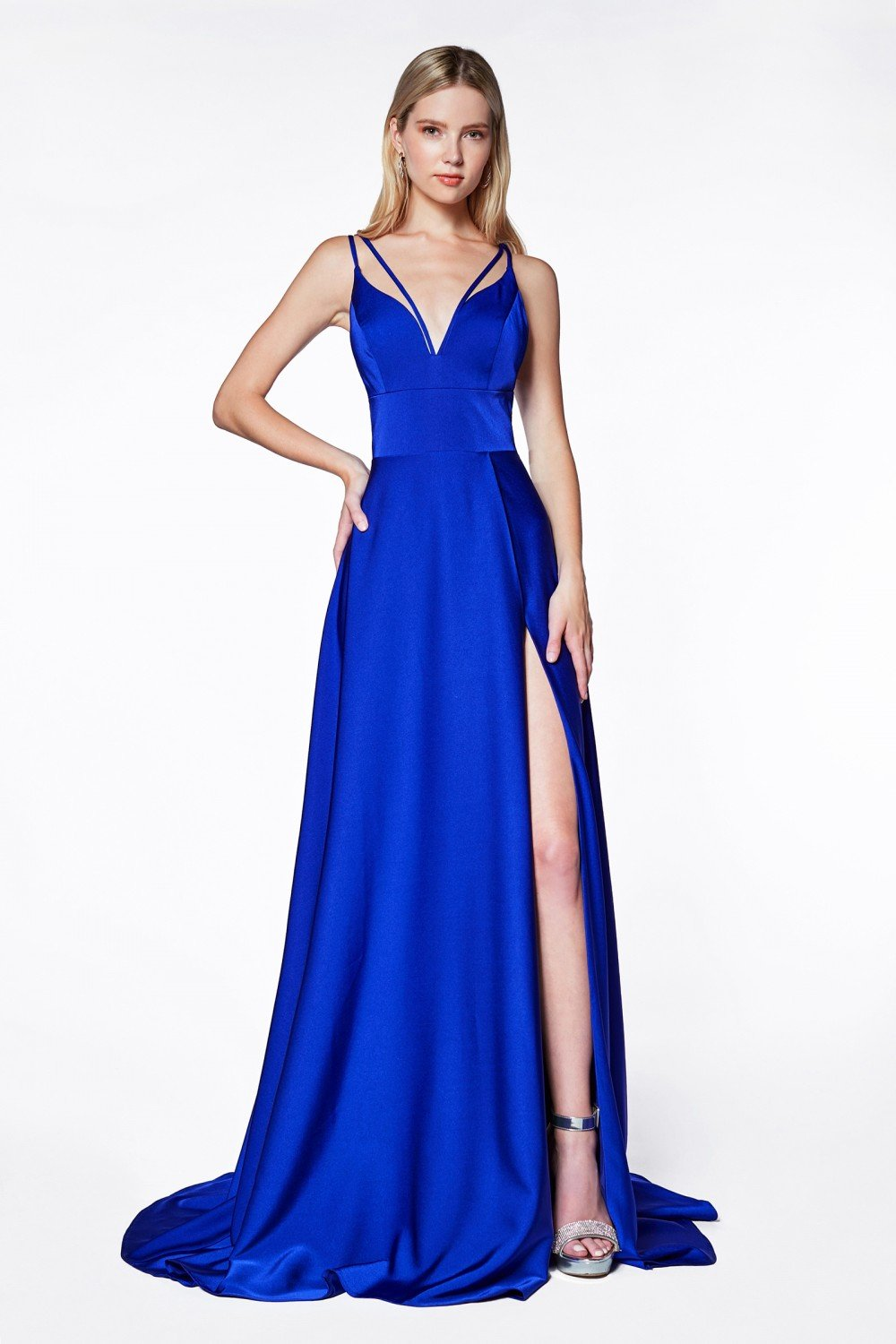 Royal Blue A-line v-neckline gown with slit and double strap.