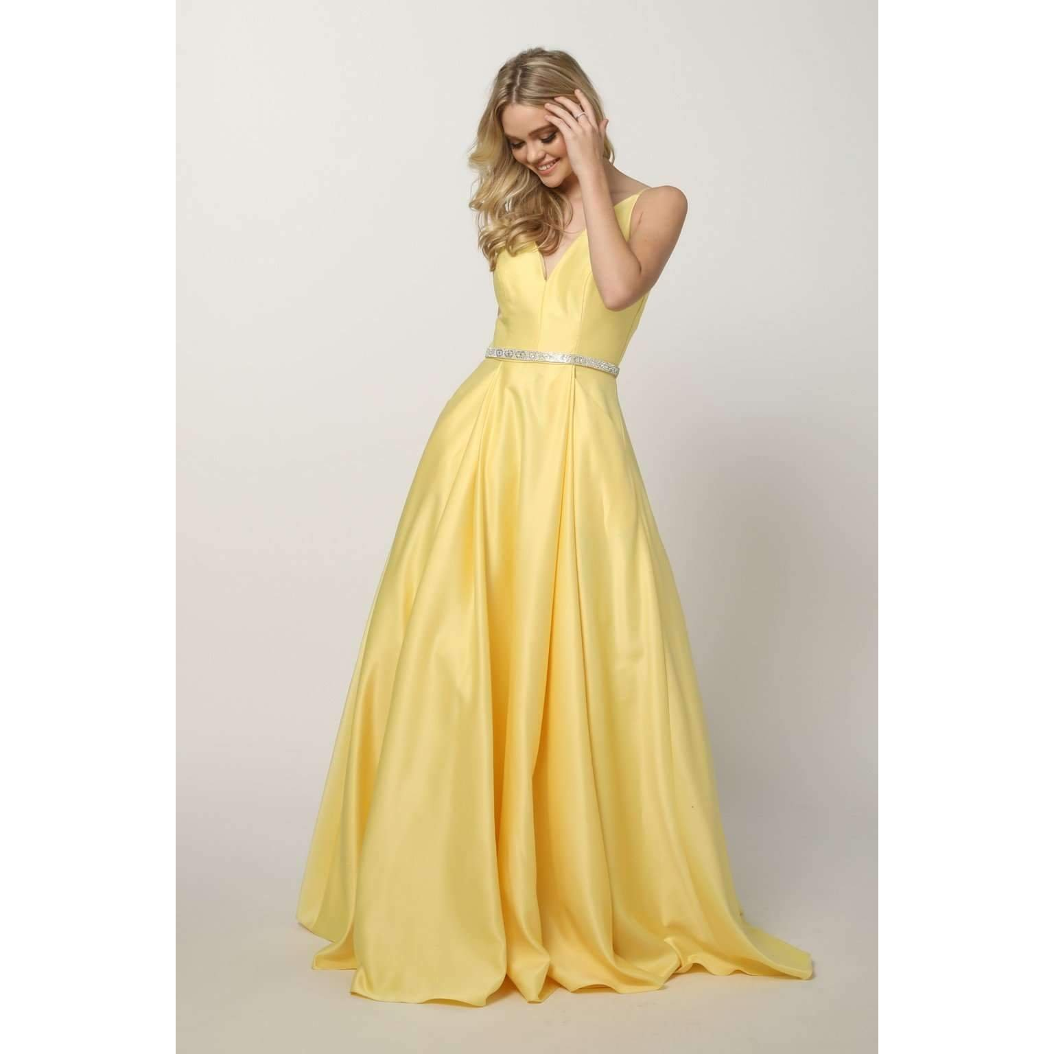 Yellow A Line Long Satin Dress with Rhinestone Belt