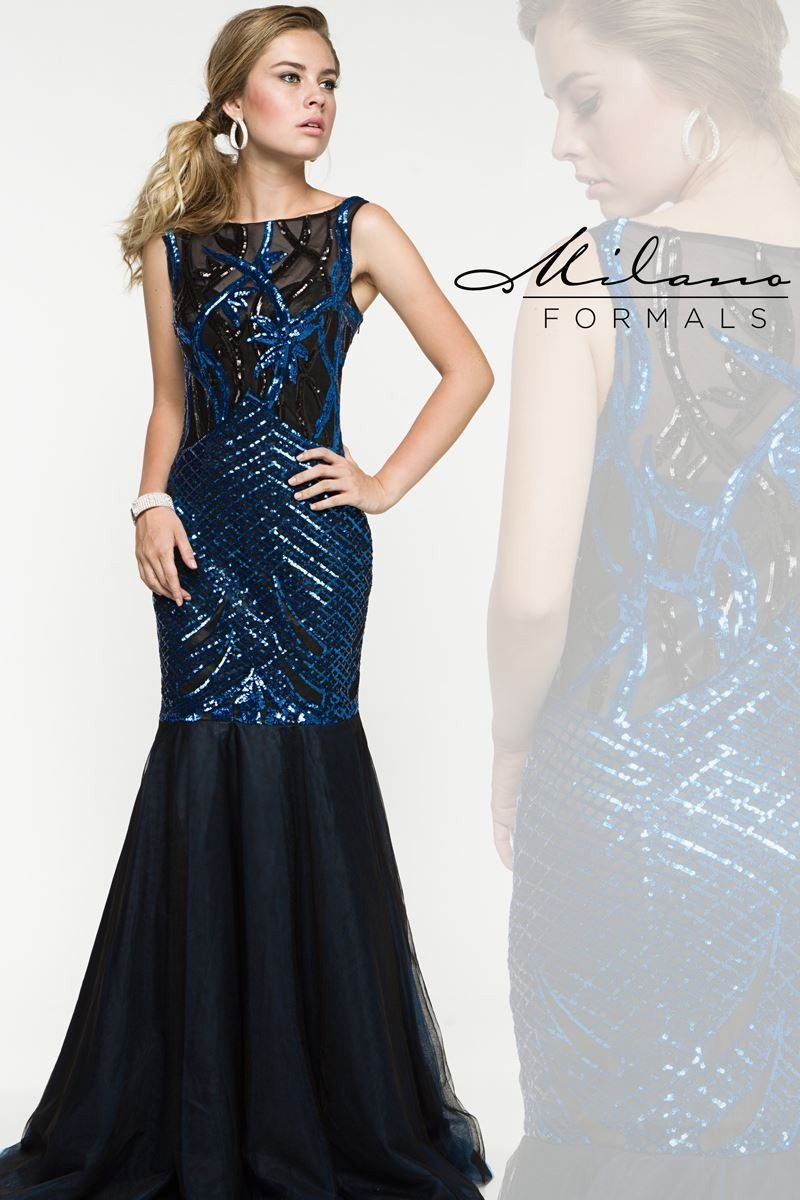 Black and Royal Sequin Long Formal Gown