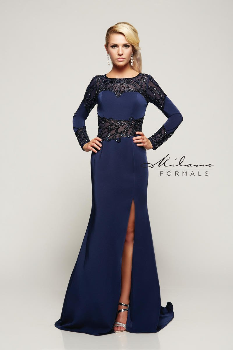 Long Sleeve Navy Gown With Embellished Bead Work