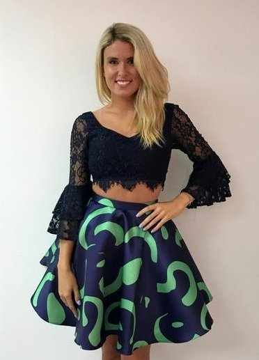 Navy Lace Top with Bell Sleeves and Green/Navy Print Skirt