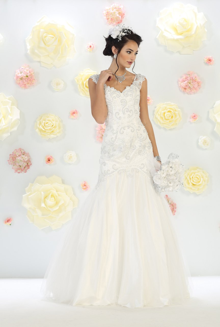 Off-White Wedding Dress With Pearl Embellished Lace Applique  With A Fit & Flare Silhouette