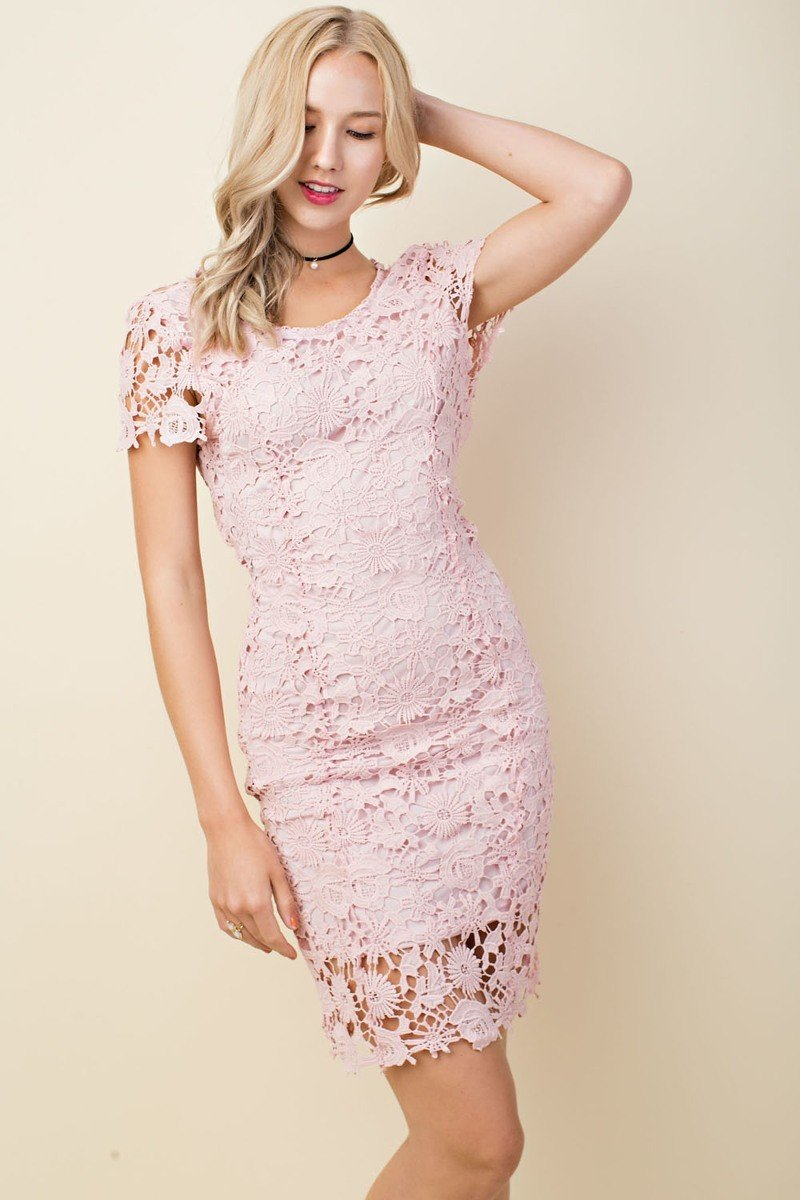 Lace Crochet Short Sleeve Dress