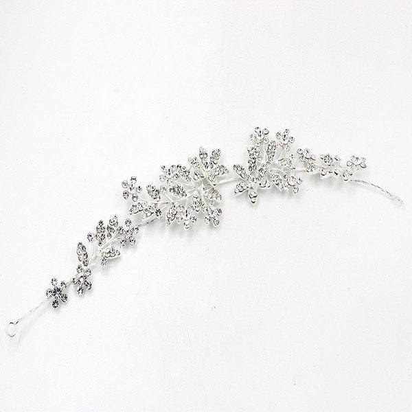 Silver Floral Hair Accessory With Jeweled Accents