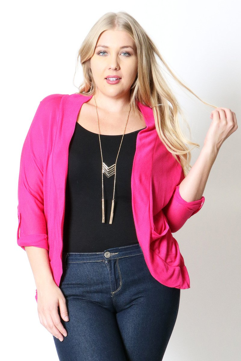 Hacci roll up slv open cardigan