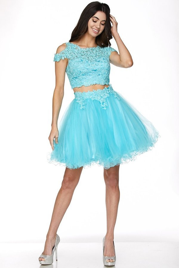 Two Piece Cold Shoulder Lace Applique Homecoming Dress