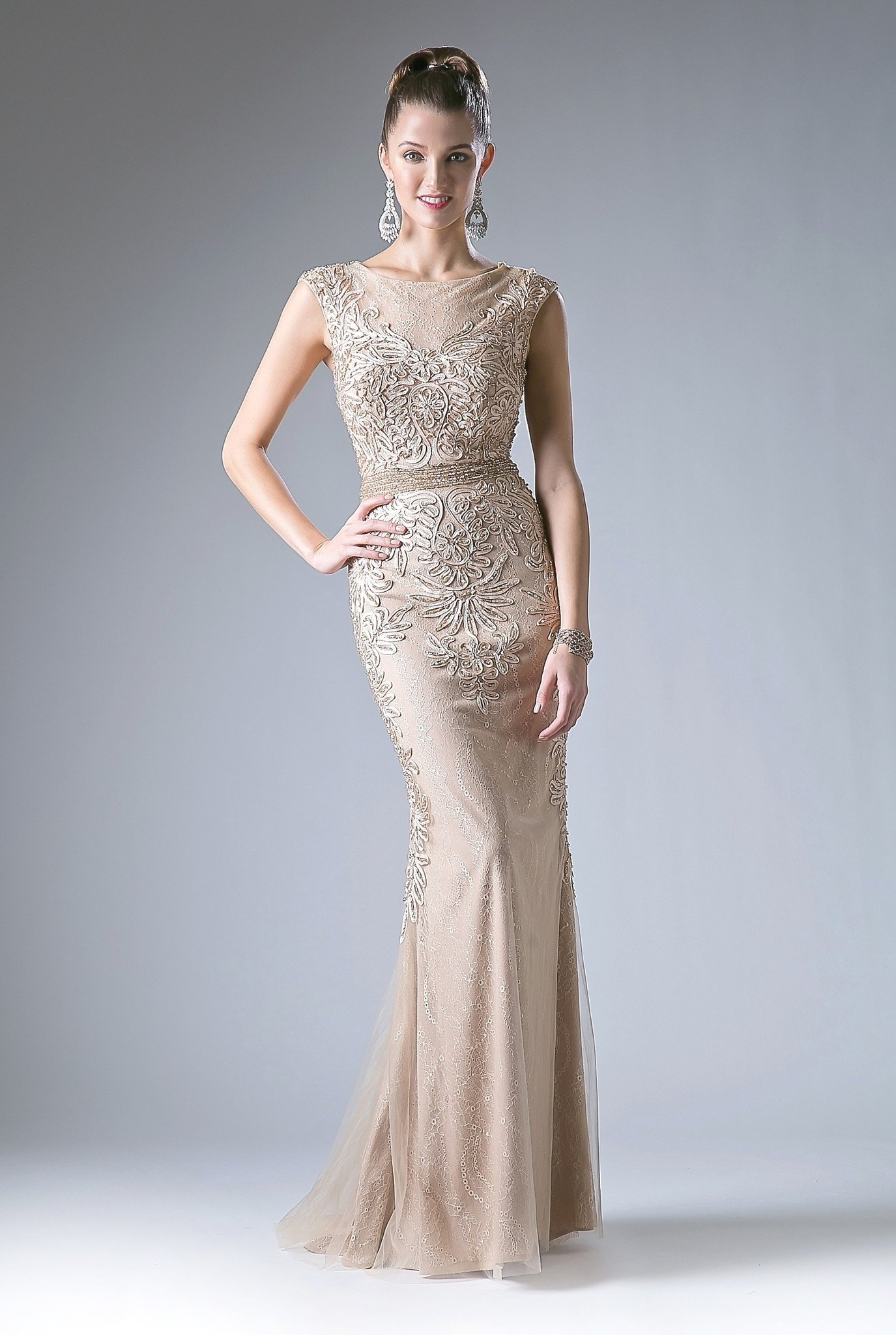 Champagne fitted lace gown with crystal beaded details and tulle overlay.