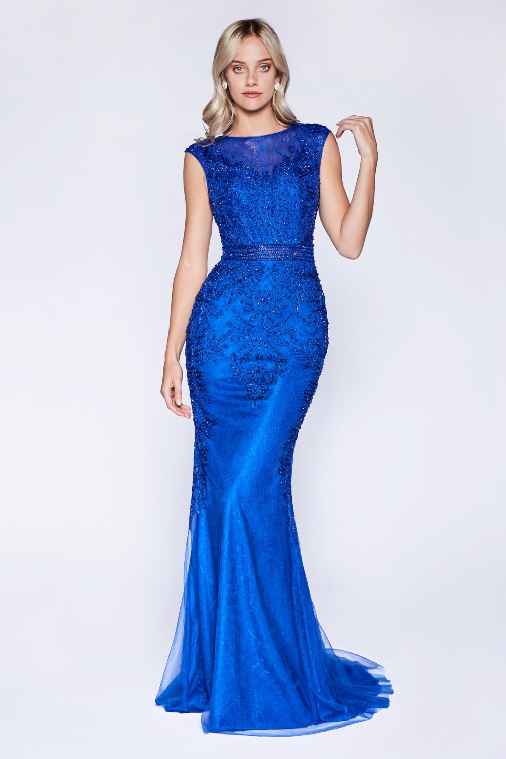 Royal Blue fitted lace gown with crystal beaded details and tulle overlay.
