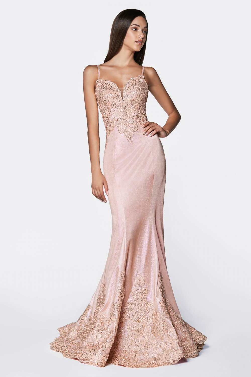 Rose Gold fitted metallic gown with lace appliqued bodice and scallop lace hem.