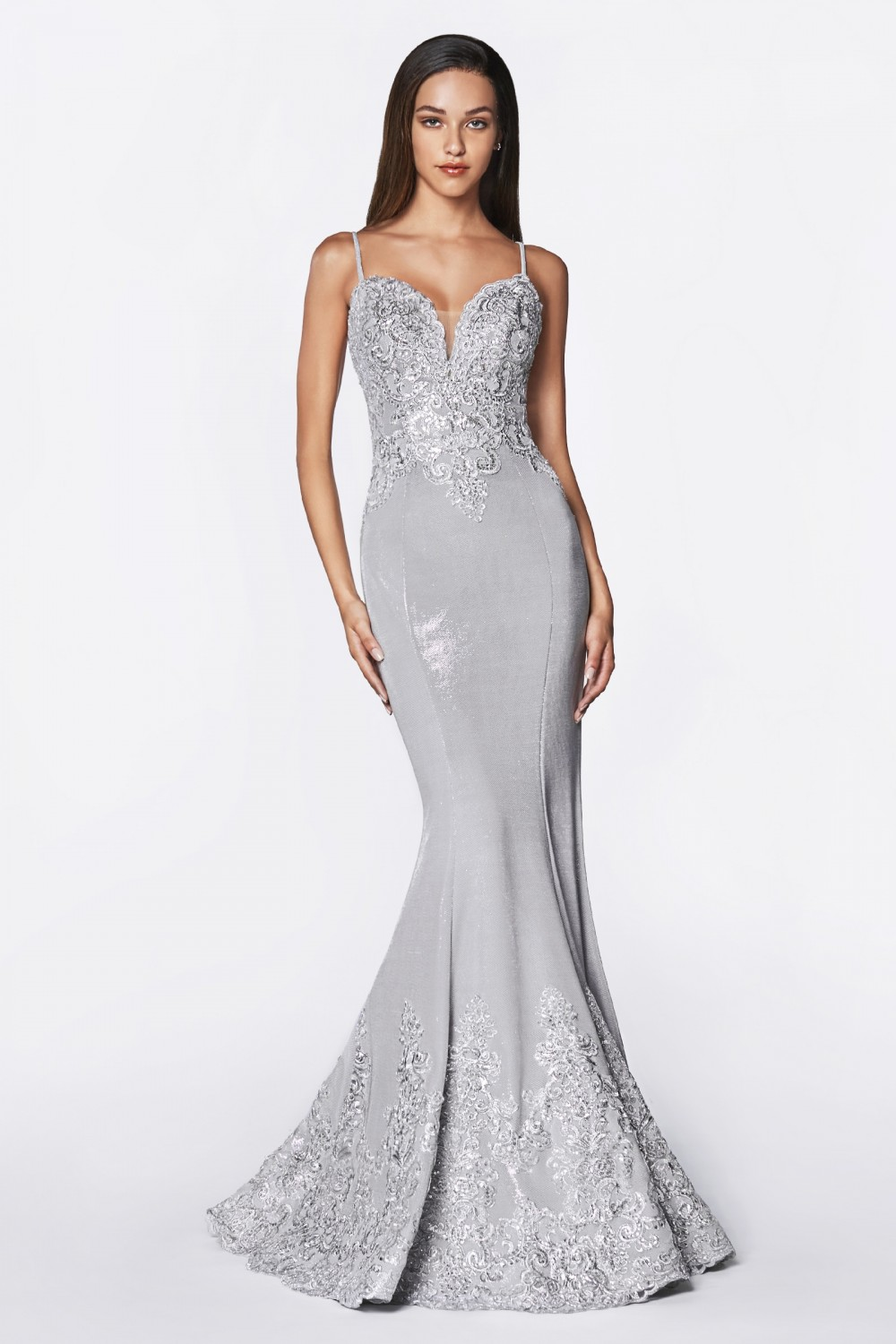 SIlver fitted metallic gown with lace appliqued bodice and scallop lace hem.